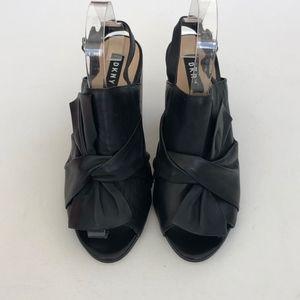 DKNY Black Leather Draped Tip Heels 8.5